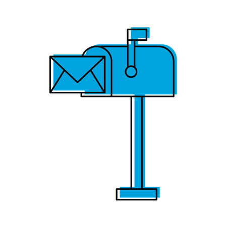 Mailbox with envelope mail isolated icon vector illustration design.
