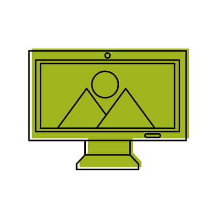 Monitor computer with landscape vector illustration design.