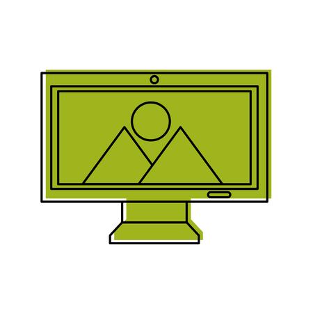Monitor computer with landscape vector illustration design.