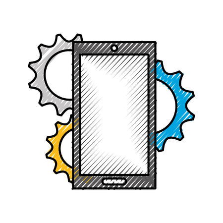 smartphone device with gears vector illustration design Çizim