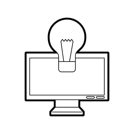 monitor computer with bulb vector illustration design Ilustração