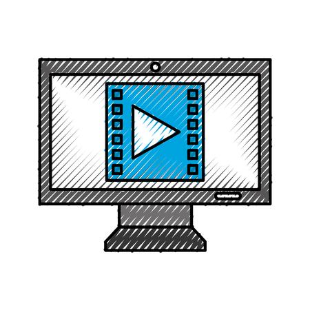 computer desktop with media marketing vector illustration design Vectores