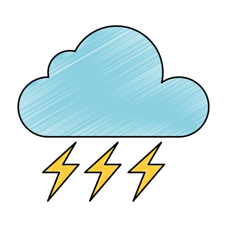 weather cloud rainy with ray vector illustration design Illustration