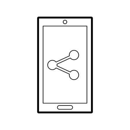 smartphone device with share symbol vector illustration design