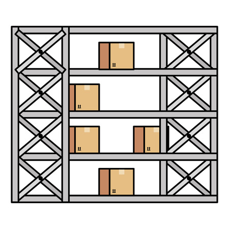 shelving warehouse with boxes vector illustration design Stock Vector - 94990130