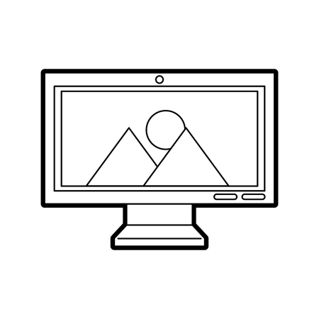 monitor computer with landscape vector illustration design