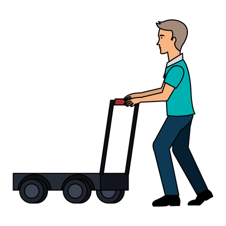 delivery worker with cart avatar character vector illustration design Illustration