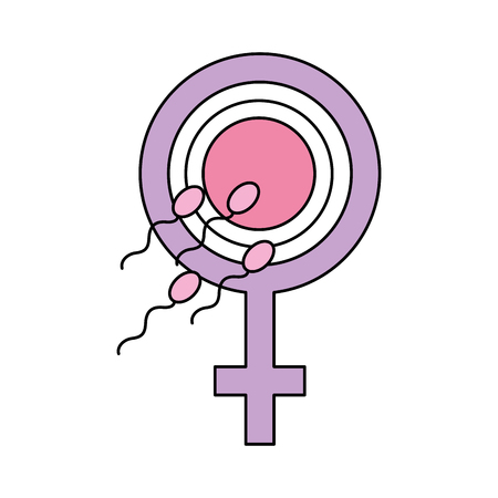 Fertilizing sperm with female symbol vector illustration design