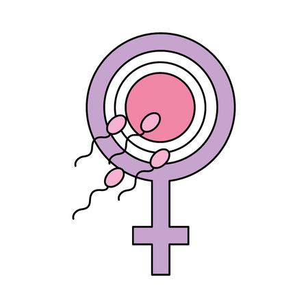 Fertilizing sperm with female symbol vector illustration design
