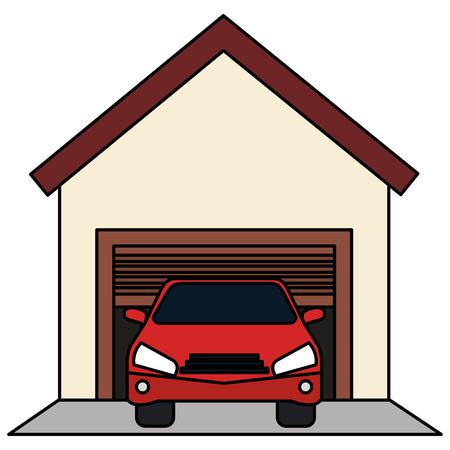 Garage building with car vector illustration design