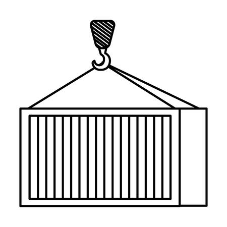クレーンフック持ち上げ容器ベクトルイラストデザイン