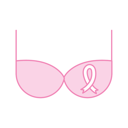 Bra with pink ribbon vector illustration design