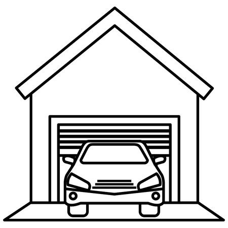 Garagengebäude mit Autovektor-Illustrationsdesign Standard-Bild - 94961270