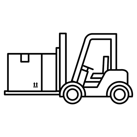A forklift vehicle with box vector illustration design