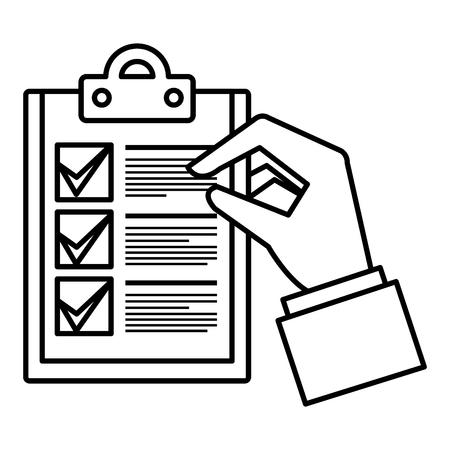 hand met checklist document geïsoleerd pictogram vector illustratie ontwerp