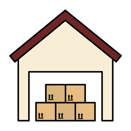 Warehouse building with boxes vector illustration design Illustration
