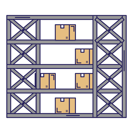 shelving warehouse with boxes vector illustration design Stock Vector - 94960581