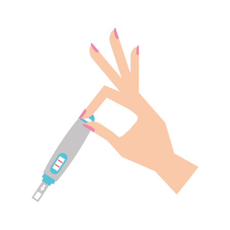 hand human with pregnancy test isolated icon vector illustration design Illustration