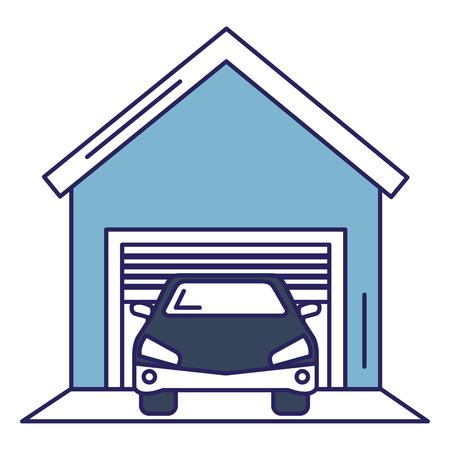 De garagebouw met ontwerp van de auto het vectorillustratie Stock Illustratie
