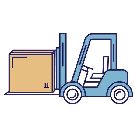 Forklift vehicle with box vector illustration design Illustration