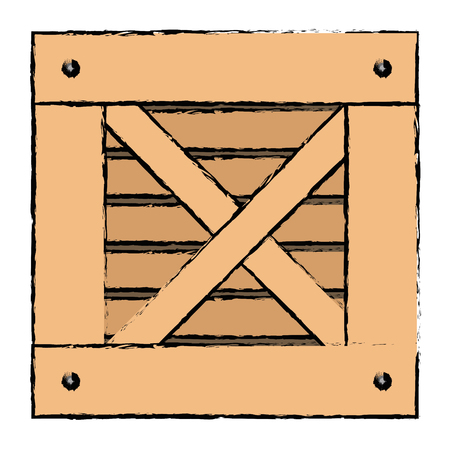 Delivery wooden box icon vector illustration design