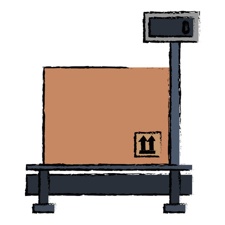 delivery service scale with box vector illustration design Illustration