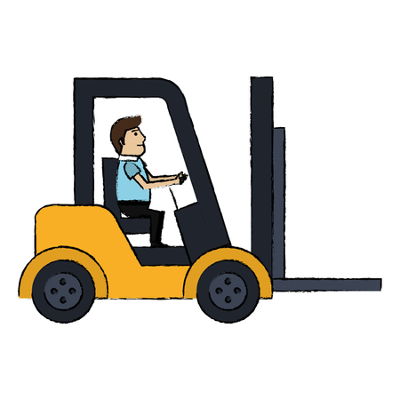 Forklift vehicle with driver vector illustration design