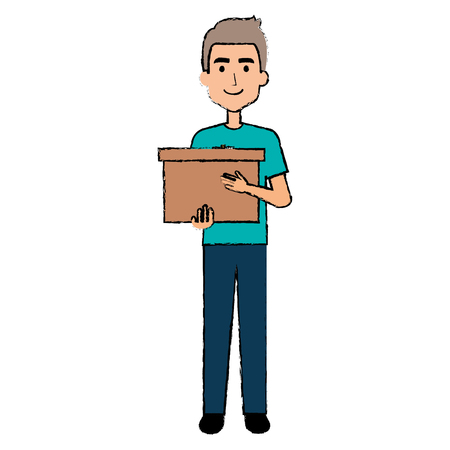 Delivery worker lifting goods avatar character vector illustration design