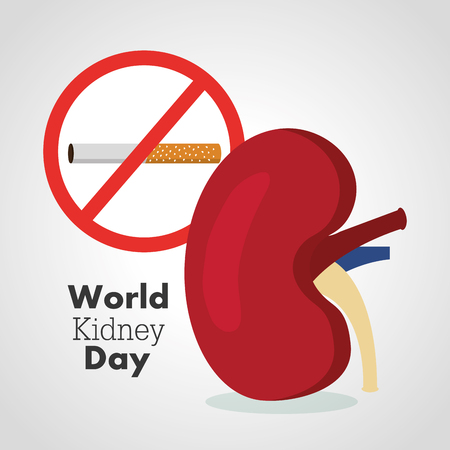 World kidney day card prohibits the cigarette