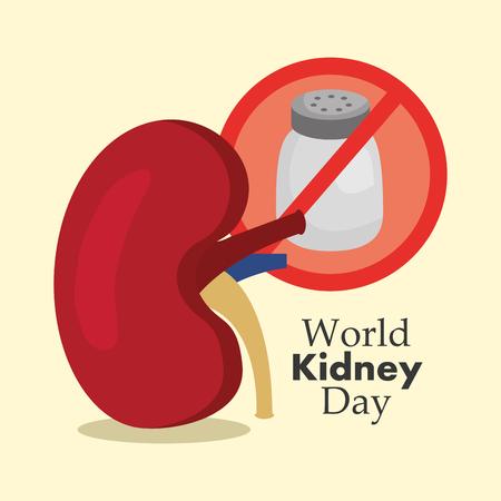 Illustration vectorielle de monde rein journée médicale malsaine nourriture salée Banque d'images - 94974512