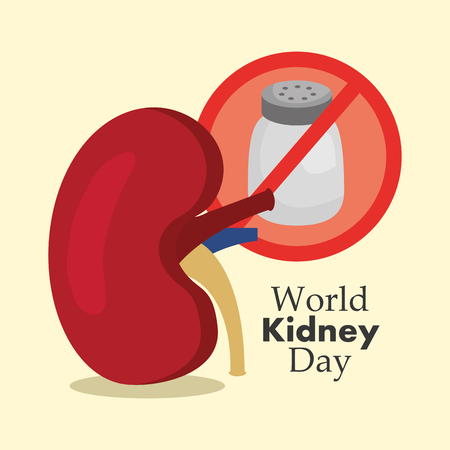 world kidney day medical unhealthy salt food vector illustration  イラスト・ベクター素材