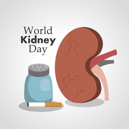 world kidney day card health awareness vector illustration