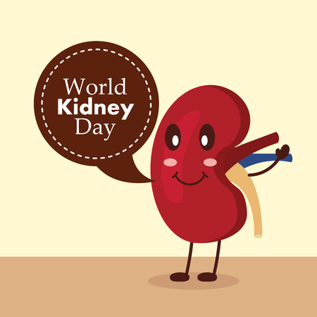 World kidney day disease awareness campaign vector illustration.
