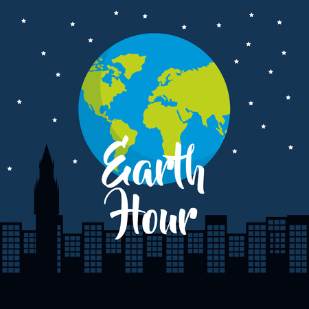 earth hour world globe silhouette of city at night starry vector illustration Illustration