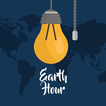 earth hour bulb energy ecology map background vector illustration
