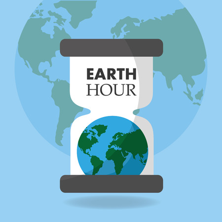 earth hour globe hourglass time poster vector illustration