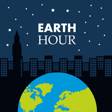 earth hour globe world city night star sky vector illustration
