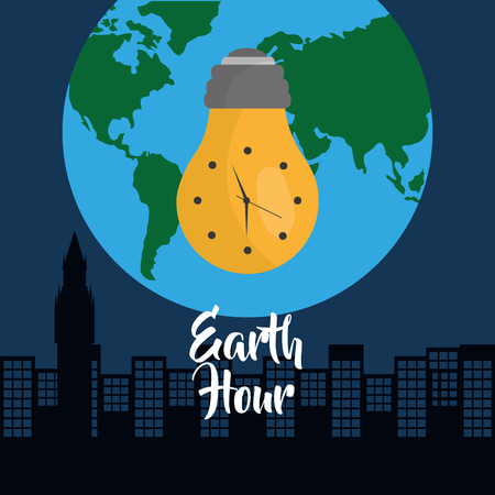 earth hour bulb clock city globe world vector illustration