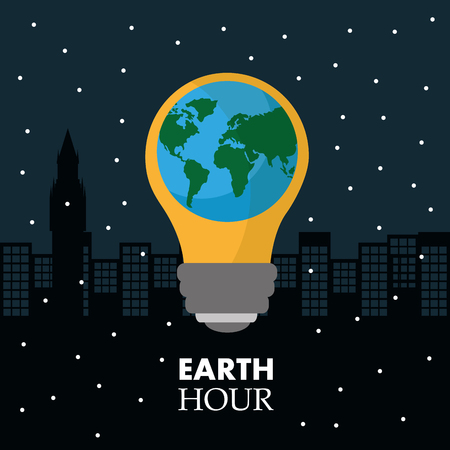 Earth hour in the light bulb