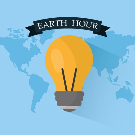 Earth hour light bulb energy safety 向量圖像
