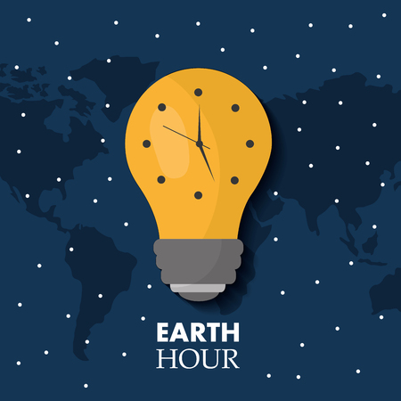 earth hour bulb light ecology clock map stars vector illustration Illustration