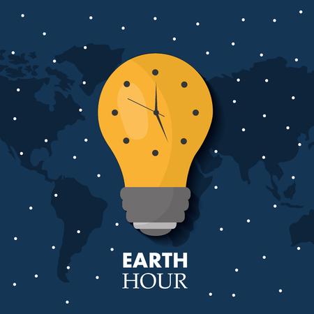earth hour bulb light ecology clock map stars vector illustration Illustration