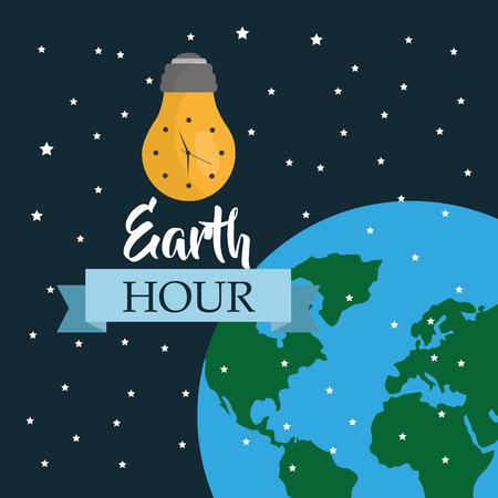 earth hour clock bulb light globe map stars vector illustration