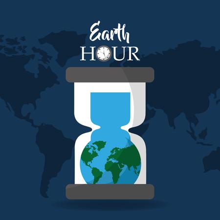Earth hour globe inside hourglass