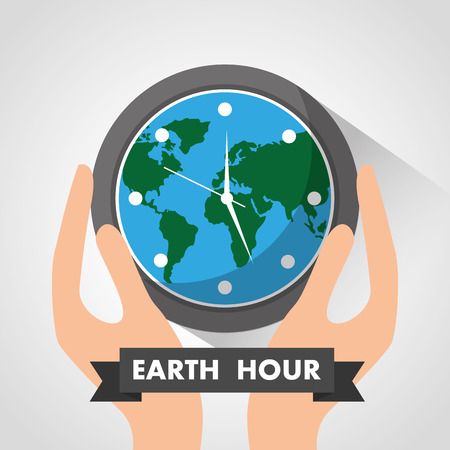 Hands holding clock globe safety earth hour