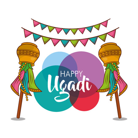 happy ugadi new year celebration religious party vector illustration