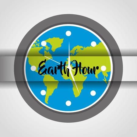 earth hour round clock globe world celebration event vector illustration Illustration