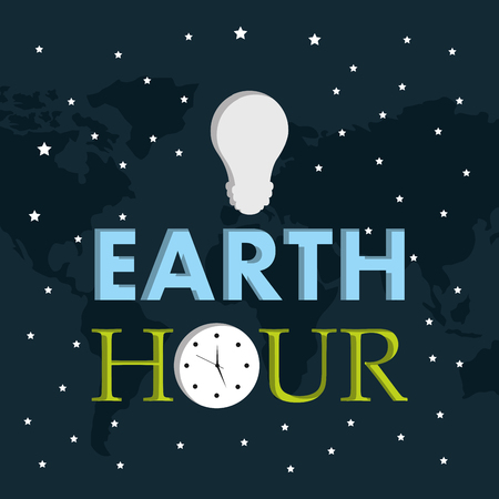earth hour light bulb clock starry dark background vector illustration