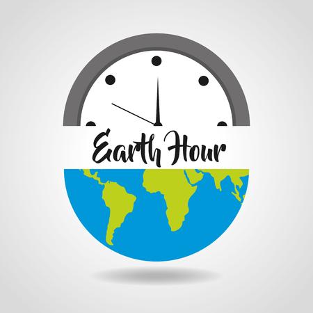 earth hour save energy clock world vector illustration