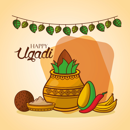 happy ugadi invitation card festive indian celebration vector illustration